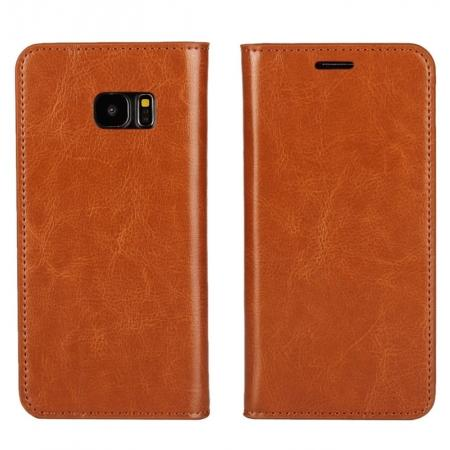 Crazy Horse Genuine Leather Flip Wallet Stand Case for Samsung Galaxy S7 Edge G935 with Card Slots - Brown