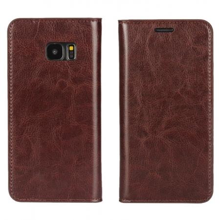 Crazy Horse Genuine Leather Flip Wallet Stand Case for Samsung Galaxy S7 Edge G935 with Card Slots - Coffee