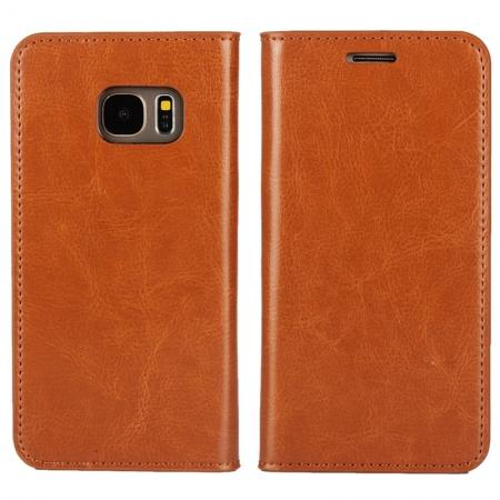 Crazy Horse Genuine Leather Wallet Stand Case for Samsung Galaxy S7 G930 with Card hoders - Brown