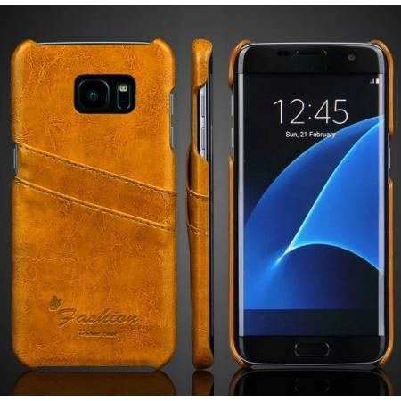 Fashion Oil Wax Grain PU Leather Back Cover Case With Card Slot for Samsung Galaxy S7 Edge - Yellow