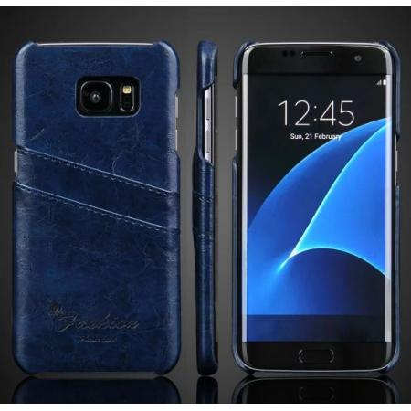 Fashion Oil Wax Grain PU Leather Back Cover Case With Card Slot for Samsung Galaxy S7 Edge - Dark Blue