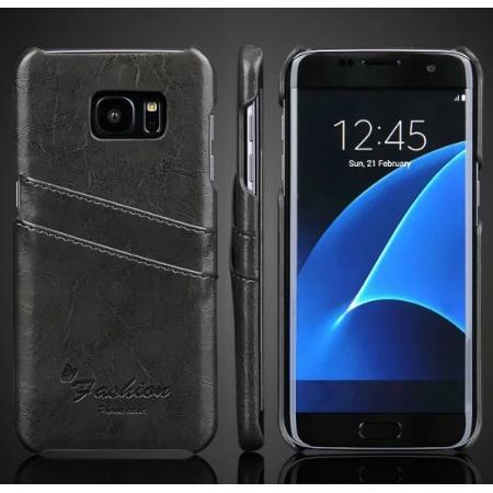 Fashion Oil Wax Grain PU Leather Back Cover Case With Card Slot for Samsung Galaxy S7 Edge - Dark Grey