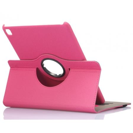 360 Degree Rotating Folio Jeans Cloth Skin PU Leather Case for 9.7-inch iPad Pro - Hot Pink