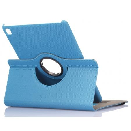360 Degree Rotating Folio Jeans Cloth Skin PU Leather Case for 9.7-inch iPad Pro - Light Blue
