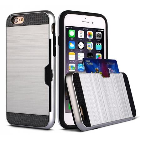 9e6aa919c107 Brushed Texture Hybrid Dual Layer Armor With Card Slot Case For iPhone 6  Plus 6S