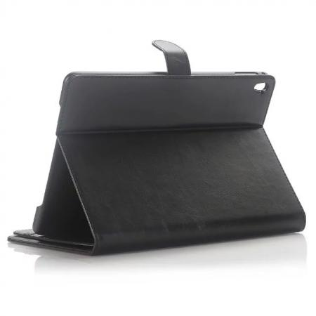 Crazy Horse Dual Layer Credit Card Holder Wallet PU Leather Stand Case for 9.7-inch iPad Pro - Black