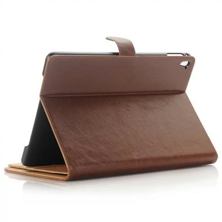 Crazy Horse Dual Layer Credit Card Holder Wallet PU Leather Stand Case for 9.7-inch iPad Pro - Brown