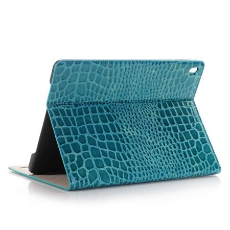 Crocodile Texture Magnetic Flip Stand Leather Case for 9.7-inch iPad Pro - Blue
