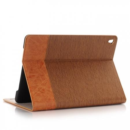 Cross Pattern PU Leather Flip Folio Smart Case Cover for 9.7-inch iPad Pro With Card Holders - Brown