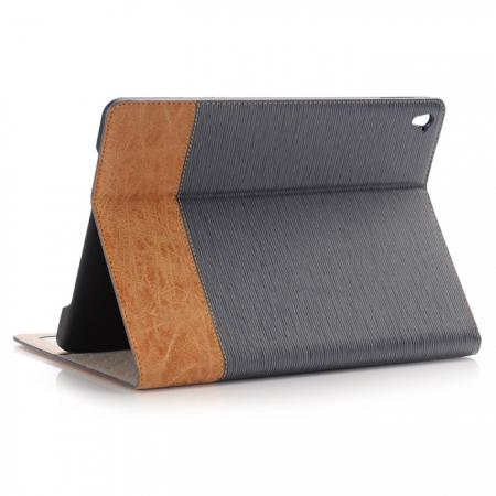 Cross Pattern PU Leather Flip Folio Smart Case Cover for 9.7-inch iPad Pro With Card Holders - Grey