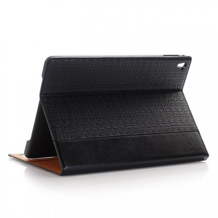 Luxury Crocodile Folding Folio Smart Cover Leather Case For 9.7-inch iPad Pro - Black