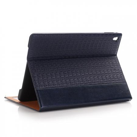 Luxury Crocodile Folding Folio Smart Cover Leather Case For 9.7-inch iPad Pro - Dark Blue