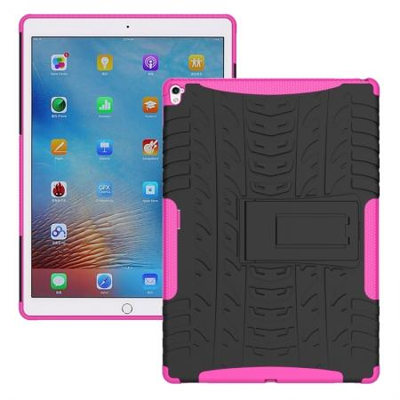 Hyun Texture ShockProof Dual Layer Hybrid Stand Protective Case For iPad Pro 9.7inch - Hot pink