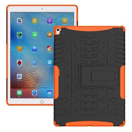 Hyun Texture ShockProof Dual Layer Hybrid Stand Protective Case For iPad Pro 9.7inch - Orange