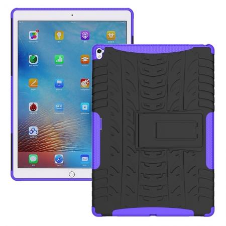 Hyun Texture ShockProof Dual Layer Hybrid Stand Protective Case For iPad Pro 9.7inch - Purple