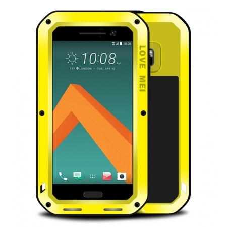 Rubber Aluminum Metal Gorilla Glass ShockProof Case Cover For HTC One M10 - Yellow