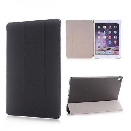 Ultra-Slim Transparent Plastic And PU Leather Smart Cover for iPad Pro 9.7 inch  - Black