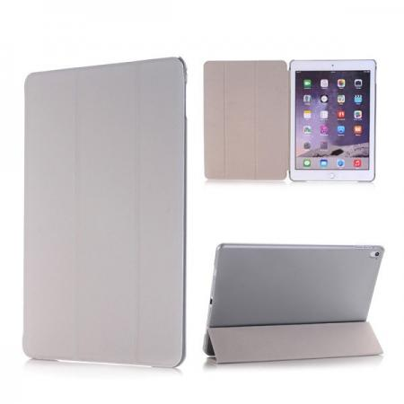 Ultra-Slim Transparent Plastic And PU Leather Smart Cover for iPad Pro 9.7 inch  - Grey
