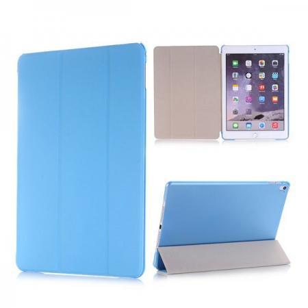 Ultra-Slim Transparent Plastic And PU Leather Smart Cover for iPad Pro 9.7 inch  - Light Blue