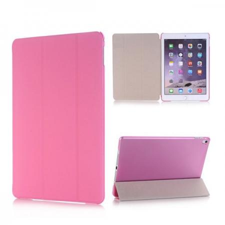 Ultra-Slim Transparent Plastic And PU Leather Smart Cover for iPad Pro 9.7 inch  - Pink