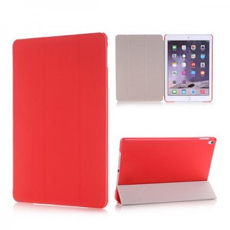 Ultra-Slim Transparent Plastic And PU Leather Smart Cover for iPad Pro 9.7 inch  - Red