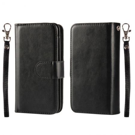2 in1 Magnet Detachable Removable Cards Cash Slots Leather Case for iPhone 5/5s/SE - Black