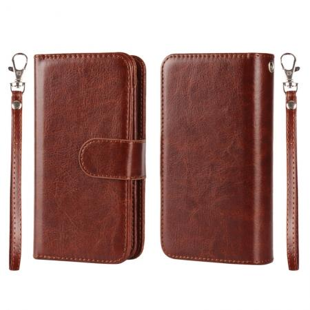 2 in1 Magnet Detachable Removable Cards Cash Slots Leather Case for iPhone 5/5s/SE - Brown