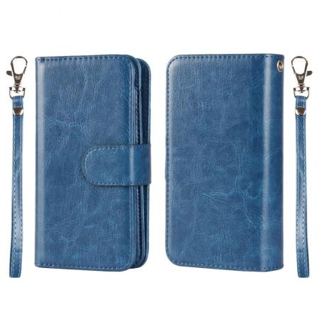 2 in1 Magnet Detachable Removable Cards Cash Slots Leather Case for iPhone 5/5s/SE - Dark Blue
