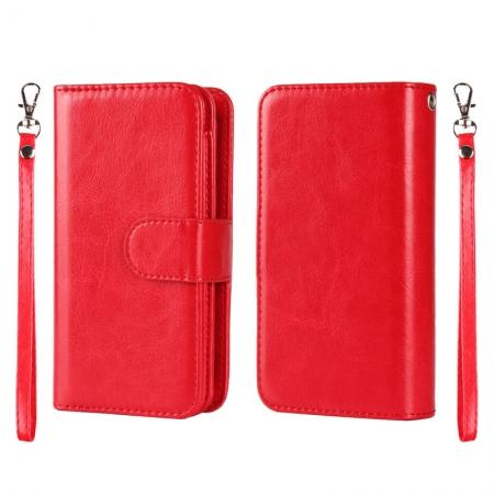 2 in1 Magnet Detachable Removable Cards Cash Slots Leather Case for iPhone 5/5s/SE - Red