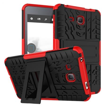 Hybrid Dual Layer Tough Kickstand Protective Case for Samsung Galaxy Tab A (2016) T280 - Red