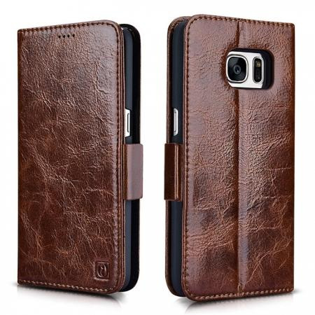 ICARER Oil Wax Genuine Leather Detachable 2 in 1 Wallet Folio Case For Samsung Galaxy S7 - Coffee