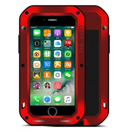 Aluminum Metal Gorilla Glass Shockproof Case for Apple iPhone 7 - Red