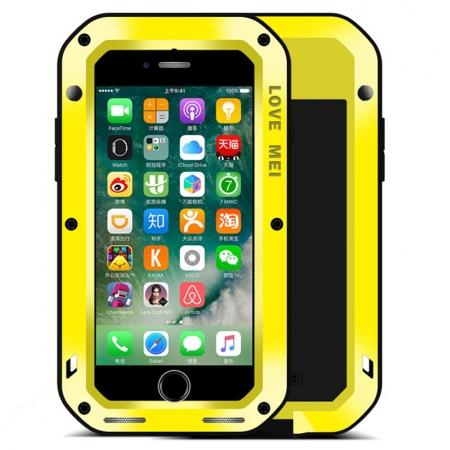 Aluminum Metal Gorilla Glass Shockproof Case for Apple iPhone 7 - Yellow