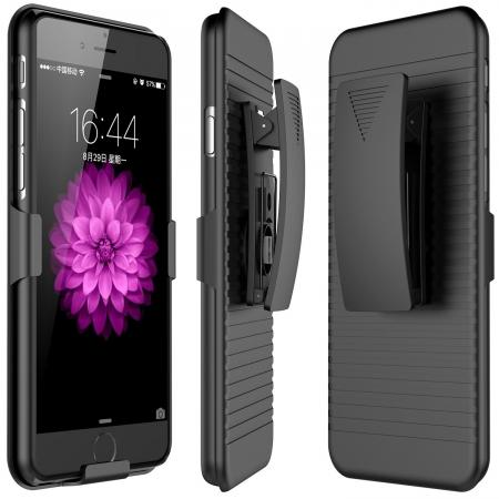 Belt Clip Holster Combo Touch Matte Hard Defender Protective Case for iPhone 7 Plus - Black