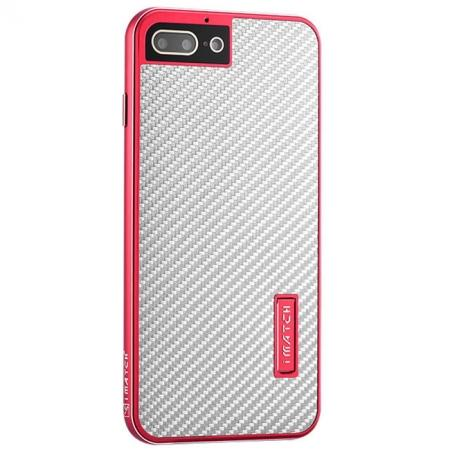 Deluxe Metal Aluminum Frame Carbon Fiber Back Case Cover For iPhone 7 4.7 inch - Red&Silver