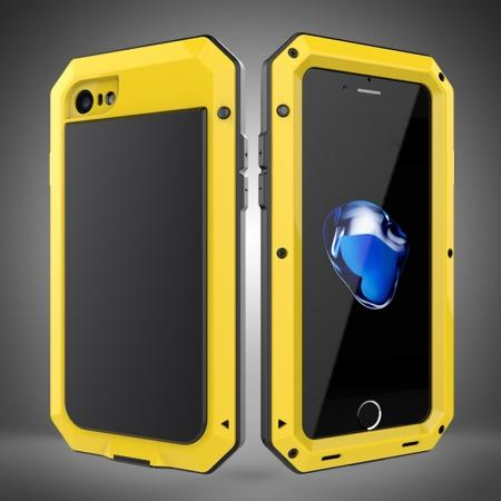 Full-Body Aluminum Metal Cover & Tempered Glass Screen Protector Case for iPhone 7 - Yellow