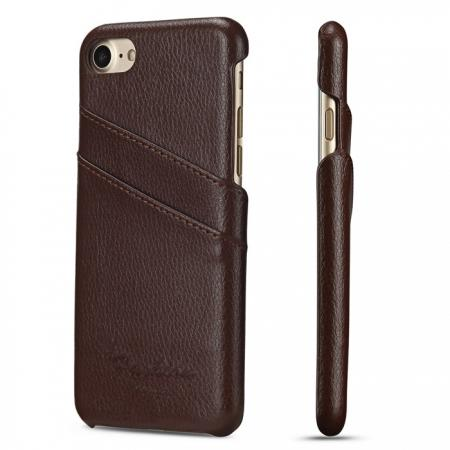 Litchi Skin Real Genuine Leather Back Card Slots Case Cover For iPhone 7 4.7 inch - Brown
