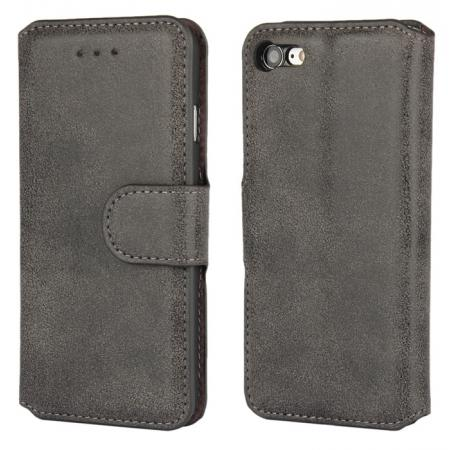 Matte Frosted Flip Leather Stand Wallet Case for iPhone 7 4.7 inch - Black