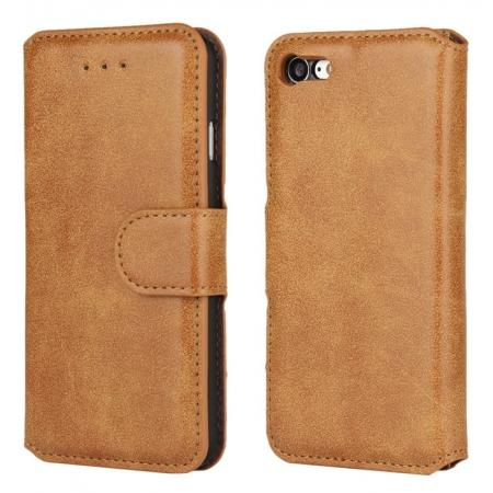 Matte Frosted Flip Leather Stand Wallet Case for iPhone 7 4.7 inch - Brown