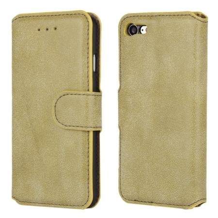 Matte Frosted Flip Leather Stand Wallet Case for iPhone 7 4.7 inch - Light Green