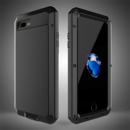 Shockproof Aluminum Metal Cover & Gorilla Glass Screen Protector Case for iPhone 7 Plus - Black