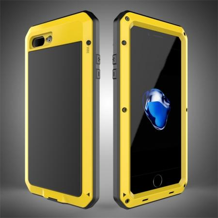 Shockproof Aluminum Metal Cover & Gorilla Glass Screen Protector Case for iPhone 7 Plus - Yellow