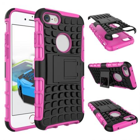 Tough Armor Shockproof Hybrid Dual Layer Kickstand Protective Case for iPhone 7 4.7inch - Hot pink