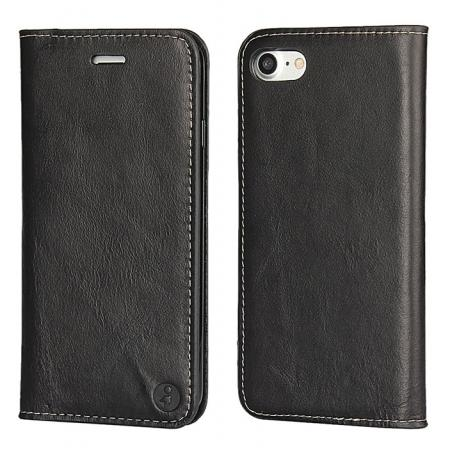 Luxury Top Layer Cowhide Genuine Leather Wallet Case for iPhone 7 4.7 inch - Black