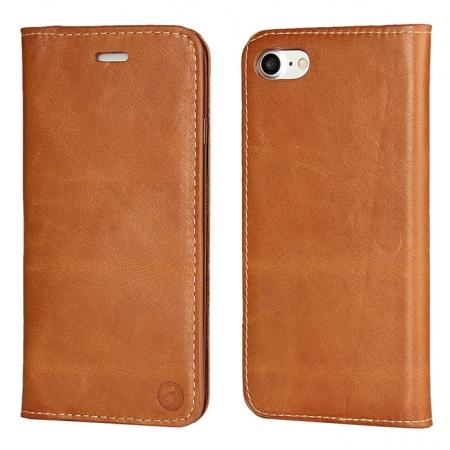 Luxury Top Layer Cowhide Genuine Leather Wallet Case for iPhone 7 4.7 inch - Brown