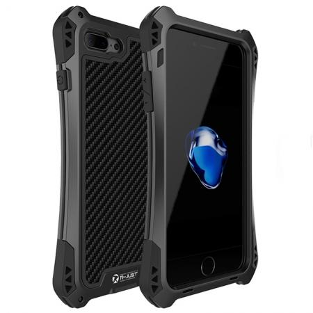 R-JUST Gorilla Glass Shockproof Metal Case Carbon Fiber Cover for iPhone 7 4.7inch - Black