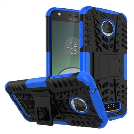 Silm Armor Kickstand Protective Cover Case For Motorola Moto Z Play/ Moto Z Play Droid - Blue