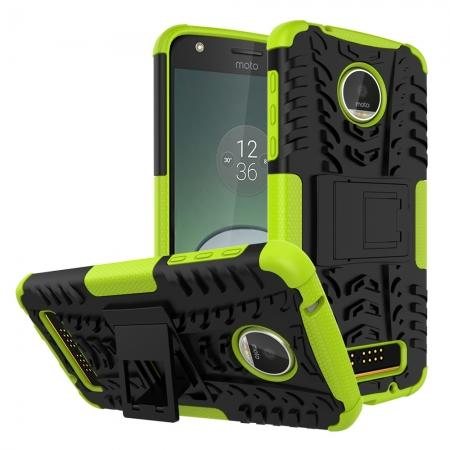 Silm Armor Kickstand Protective Cover Case For Motorola Moto Z Play/ Moto Z Play Droid - Green