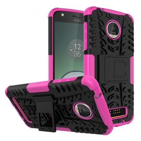 Silm Armor Kickstand Protective Cover Case For Motorola Moto Z Play/ Moto Z Play Droid - Hot pink