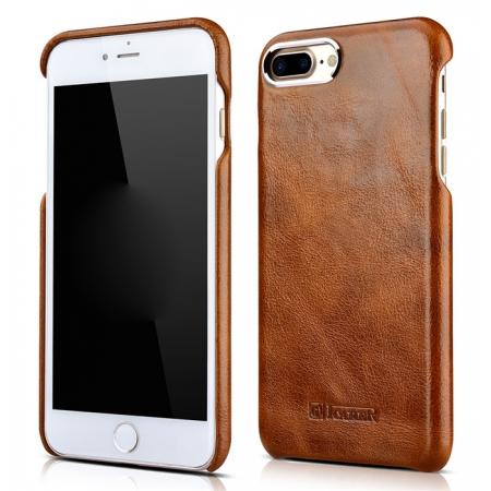 ICARER Metal Warrior Oil Wax Real Leather Back Case Cover for iPhone 7 Plus 5.5 inch - Brown